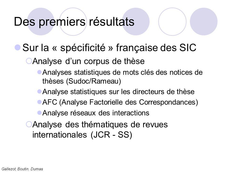Gallezot, Boutin, Dumas Des premiers résultats Sur la « spécificité » française des SIC Analyse dun corpus de thèse Analyses statistiques de mots clés