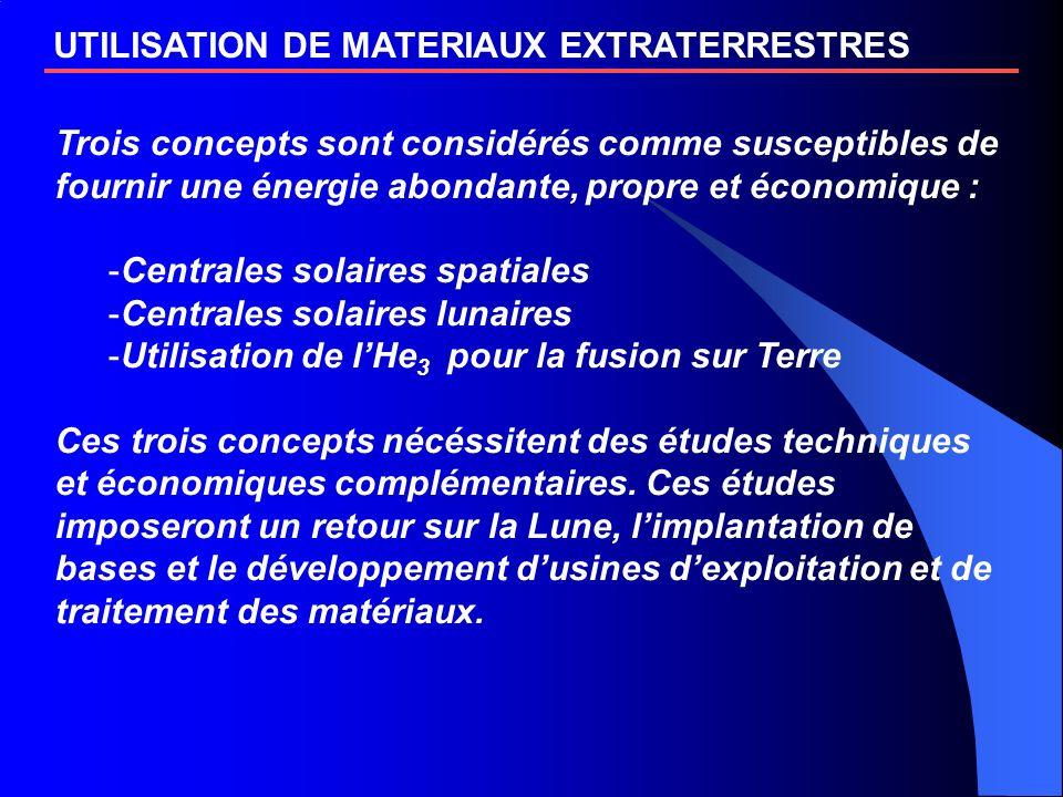 UTILISATION DE MATERIAUX EXTRATERRESTRES Trois concepts sont considérés comme susceptibles de fournir une énergie abondante, propre et économique : -C