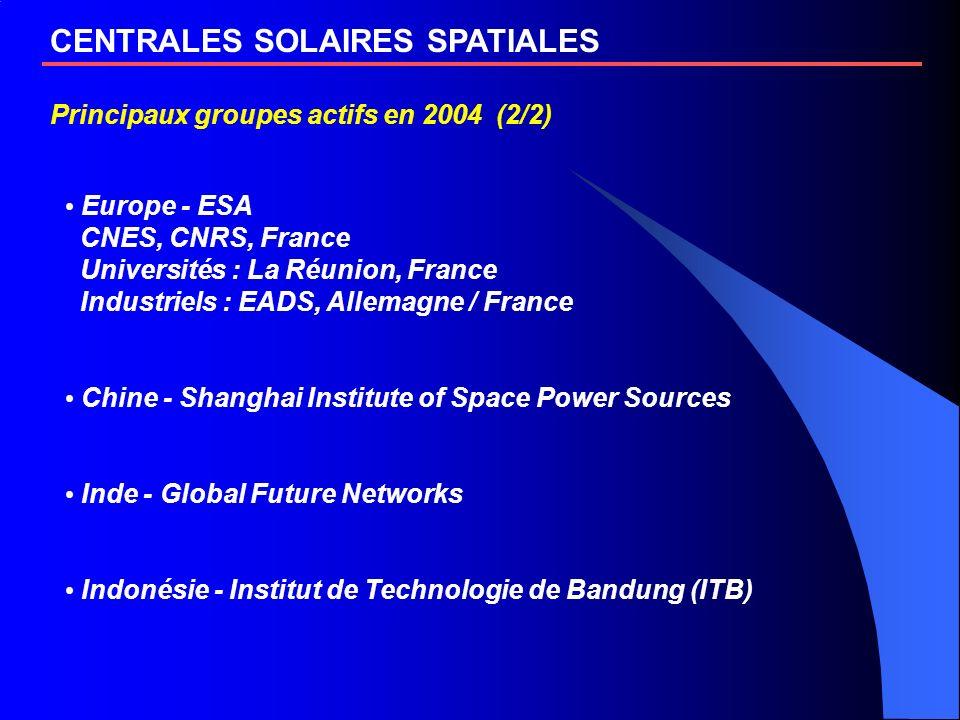 CENTRALES SOLAIRES SPATIALES Principaux groupes actifs en 2004 (2/2) Europe - ESA CNES, CNRS, France Universités : La Réunion, France Industriels : EA