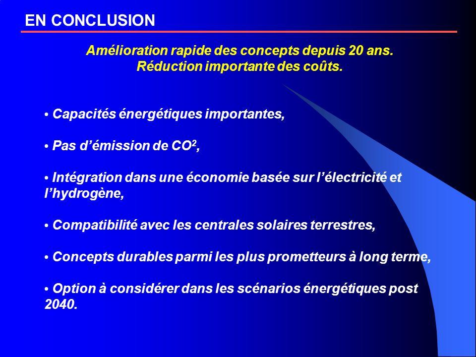 EN CONCLUSION Amélioration rapide des concepts depuis 20 ans. Réduction importante des coûts. Capacités énergétiques importantes, Pas démission de CO