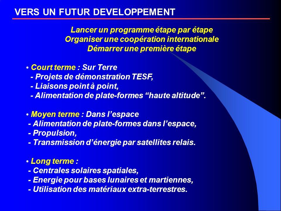 VERS UN FUTUR DEVELOPPEMENT Lancer un programme étape par étape Organiser une coopération internationale Démarrer une première étape Court terme : Sur