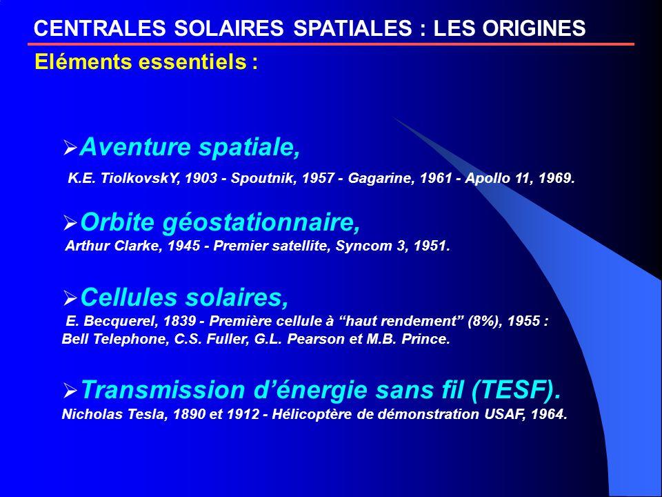 Aventure spatiale, K.E. TiolkovskY, 1903 - Spoutnik, 1957 - Gagarine, 1961 - Apollo 11, 1969. Orbite géostationnaire, Arthur Clarke, 1945 - Premier sa