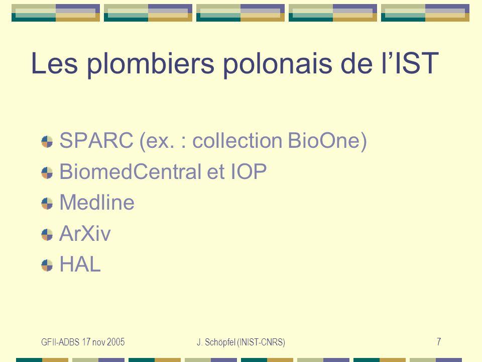 GFII-ADBS 17 nov 2005J. Schöpfel (INIST-CNRS)7 Les plombiers polonais de lIST SPARC (ex.