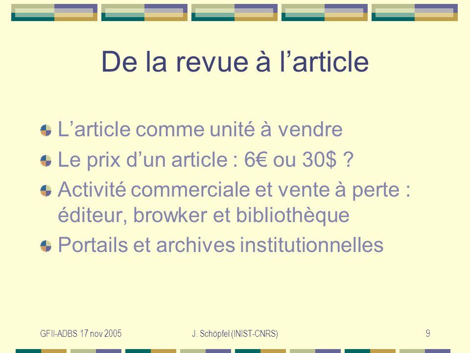 GFII-ADBS 17 nov 2005J.Schöpfel (INIST-CNRS)10 Inflation ou déflation .