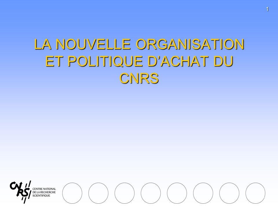 1 LA NOUVELLE ORGANISATION ET POLITIQUE DACHAT DU CNRS