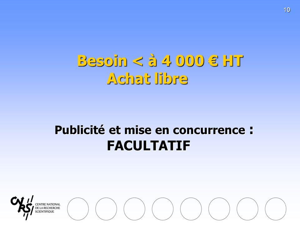 10 Besoin < à 4 000 HT Achat libre Publicité et mise en concurrence : FACULTATIF Besoin < à 4 000 HT Achat libre Publicité et mise en concurrence : FA