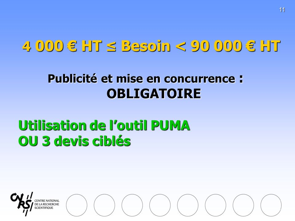 11 4 000 HT Besoin < 90 000 HT Publicité et mise en concurrence : OBLIGATOIRE Utilisation de loutil PUMA OU 3 devis ciblés 4 000 HT Besoin < 90 000 HT