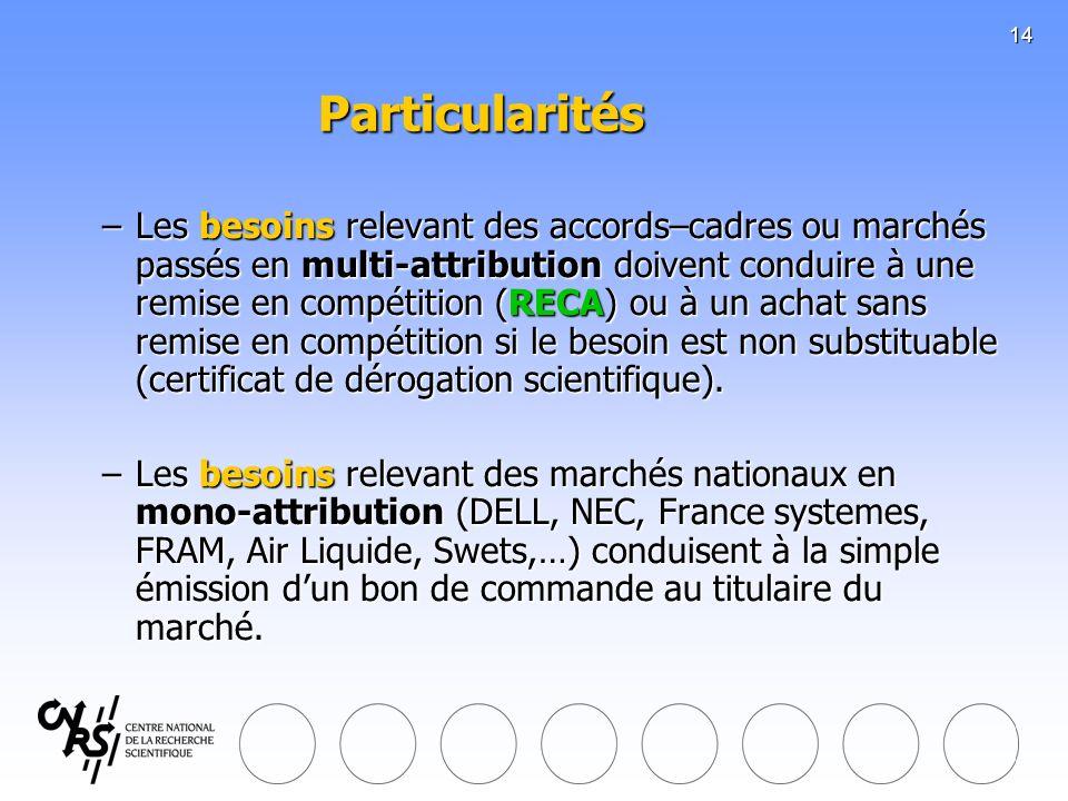 14 Particularités –Les besoins relevant des accords–cadres ou marchés passés en multi-attribution doivent conduire à une remise en compétition (RECA)