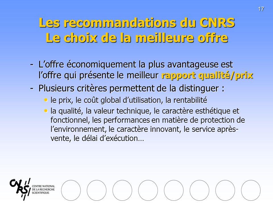 17 Les recommandations du CNRS Le choix de la meilleure offre -Loffre économiquement la plus avantageuse est loffre qui présente le meilleur rapport q