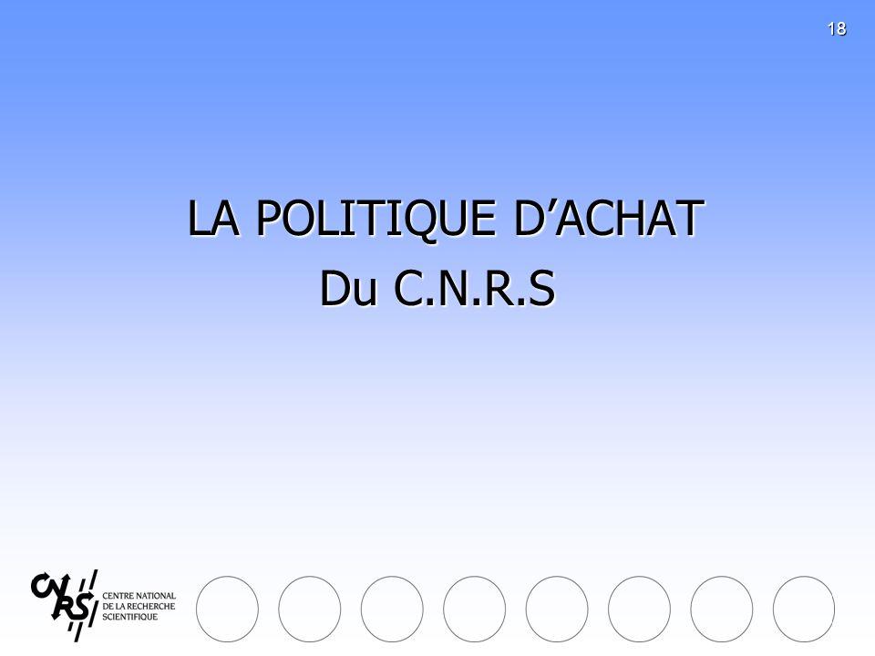 18 LA POLITIQUE DACHAT LA POLITIQUE DACHAT Du C.N.R.S