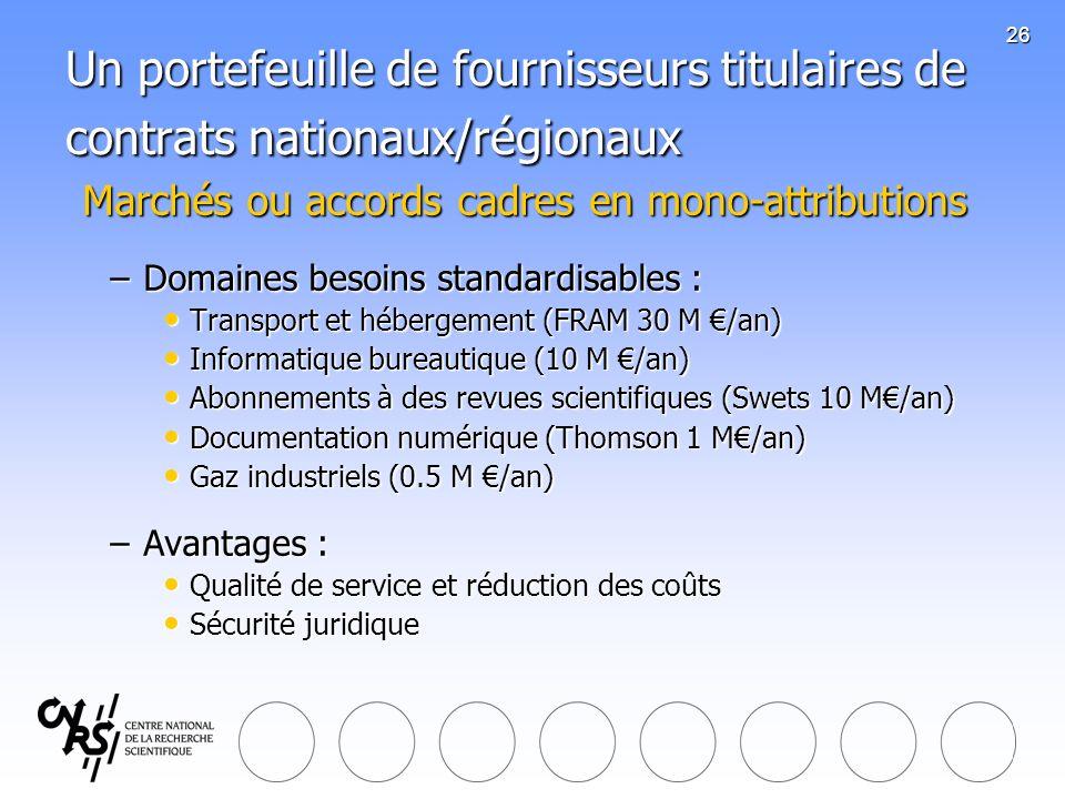 26 Un portefeuille de fournisseurs titulaires de contrats nationaux/régionaux Marchés ou accords cadres en mono-attributions Marchés ou accords cadres