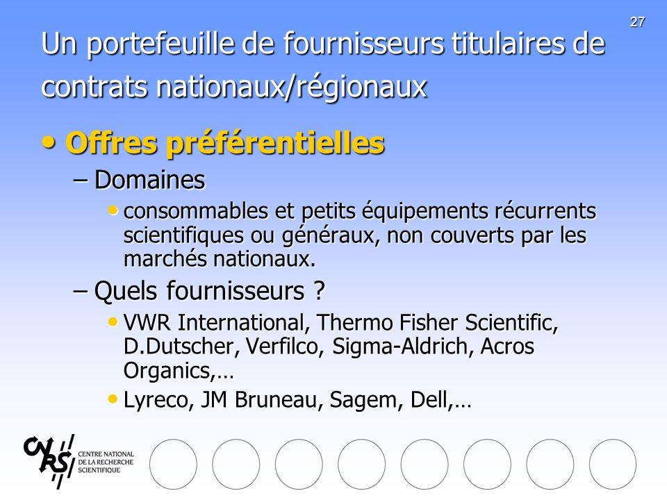 27 Un portefeuille de fournisseurs titulaires de contrats nationaux/régionaux Offres préférentielles Offres préférentielles –Domaines consommables et