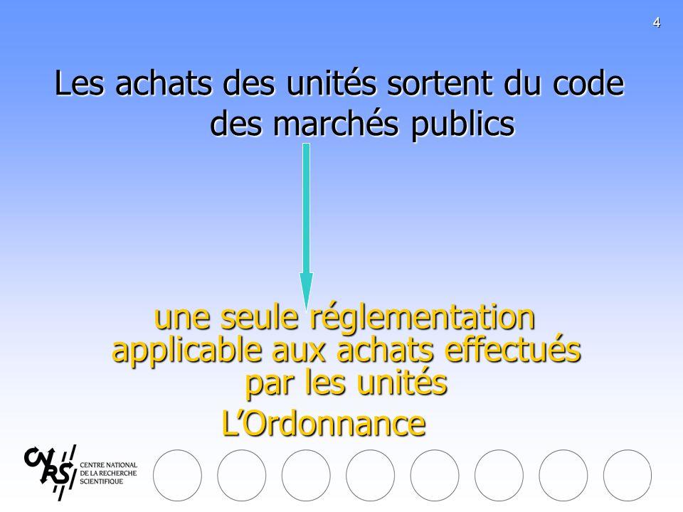 4 Les achats des unités sortent du code des marchés publics une seule réglementation applicable aux achats effectués par les unités une seule réglemen