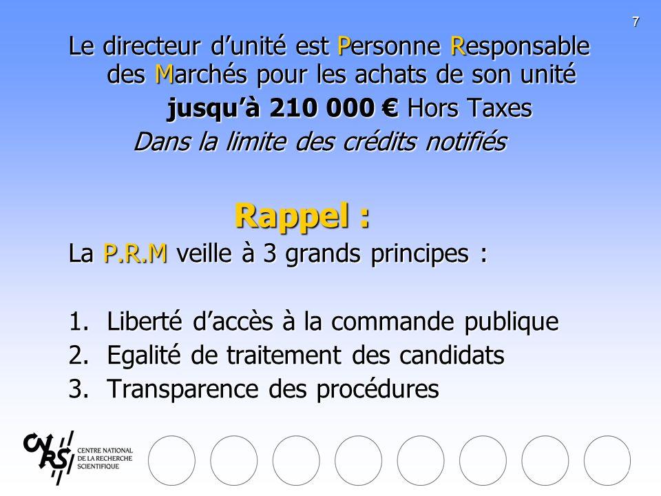 7 Le directeur dunité est Personne Responsable des Marchés pour les achats de son unité jusquà 210 000 Hors Taxes Dans la limite des crédits notifiés