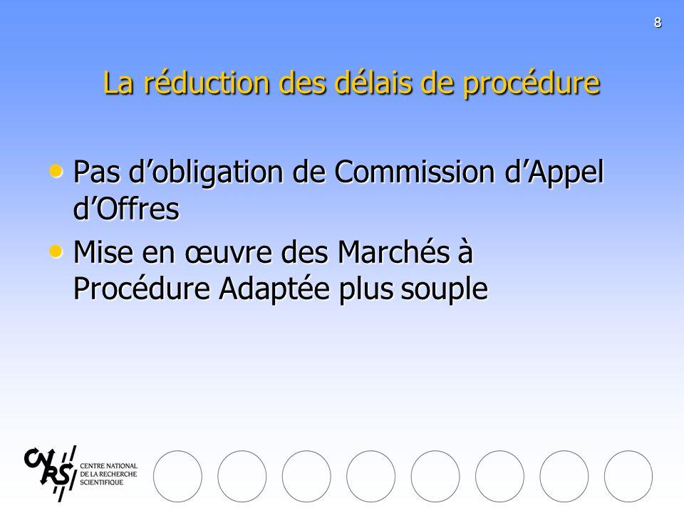 8 La réduction des délais de procédure La réduction des délais de procédure Pas dobligation de Commission dAppel dOffres Pas dobligation de Commission