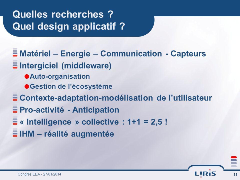 Congrès EEA - 27/01/2014 11 Quelles recherches . Quel design applicatif .
