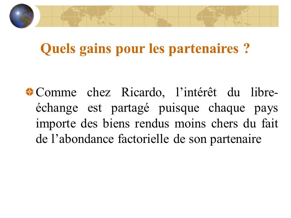 Quels gains pour les partenaires ? Comme chez Ricardo, lintérêt du libre- échange est partagé puisque chaque pays importe des biens rendus moins chers