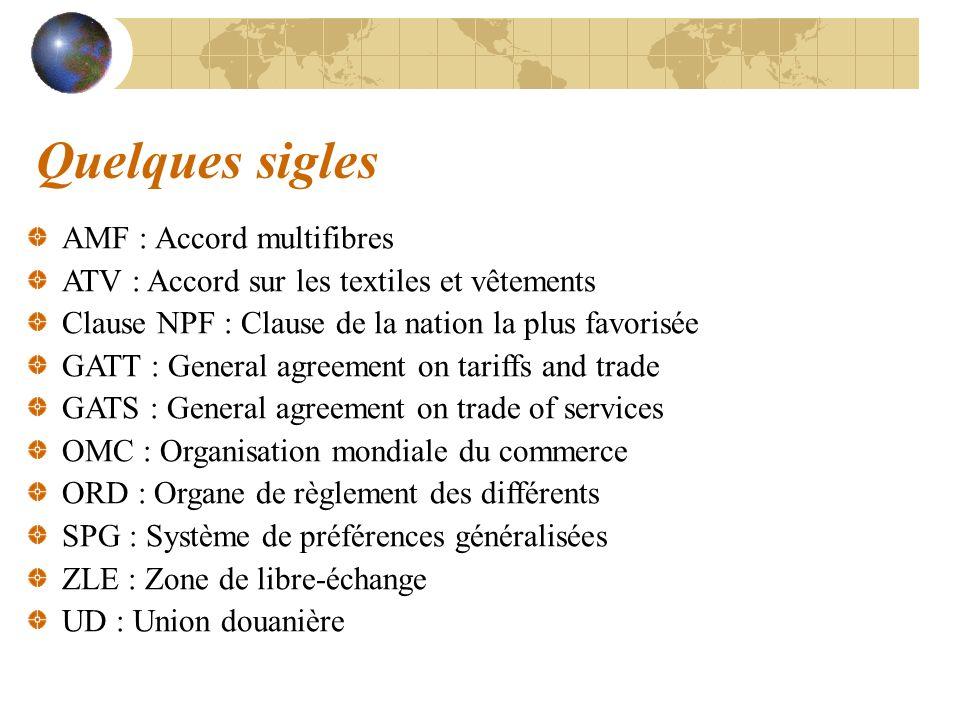 Quelques sigles AMF : Accord multifibres ATV : Accord sur les textiles et vêtements Clause NPF : Clause de la nation la plus favorisée GATT : General