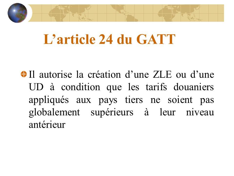 Larticle 24 du GATT Il autorise la création dune ZLE ou dune UD à condition que les tarifs douaniers appliqués aux pays tiers ne soient pas globalement supérieurs à leur niveau antérieur