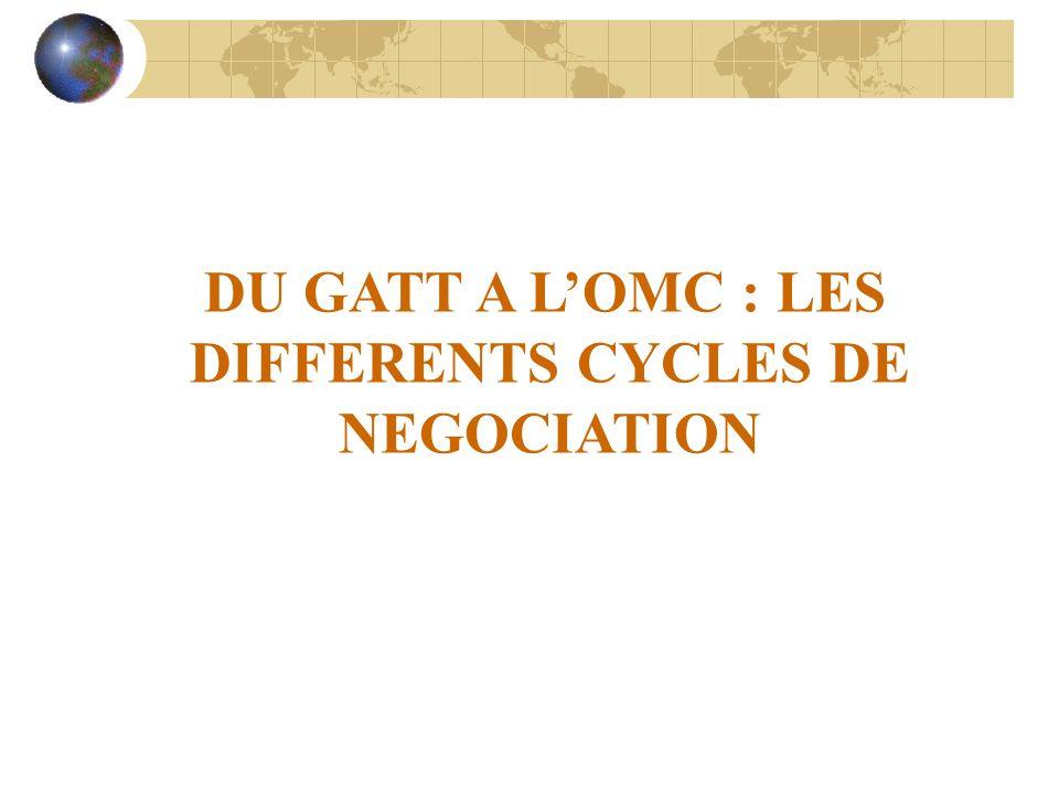 DU GATT A LOMC : LES DIFFERENTS CYCLES DE NEGOCIATION