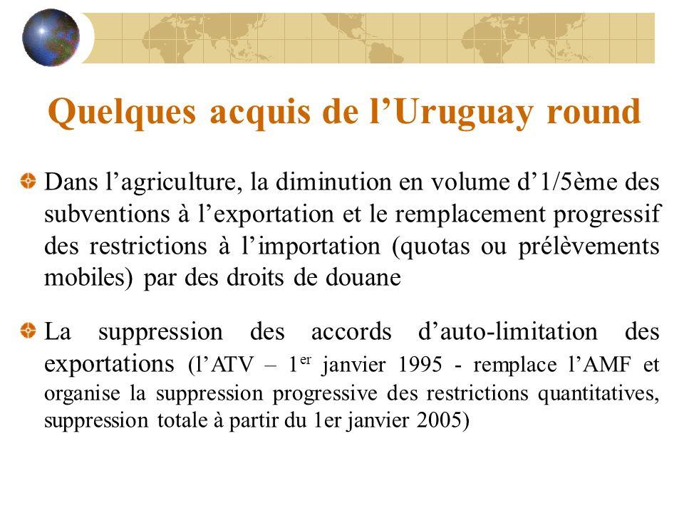Quelques acquis de lUruguay round Dans lagriculture, la diminution en volume d1/5ème des subventions à lexportation et le remplacement progressif des
