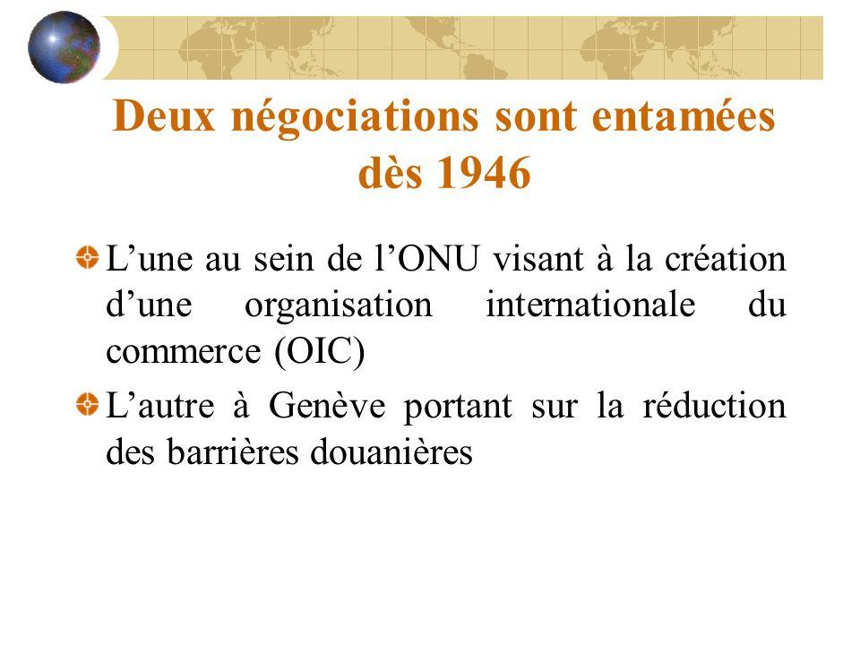 Deux négociations sont entamées dès 1946 Lune au sein de lONU visant à la création dune organisation internationale du commerce (OIC) Lautre à Genève portant sur la réduction des barrières douanières