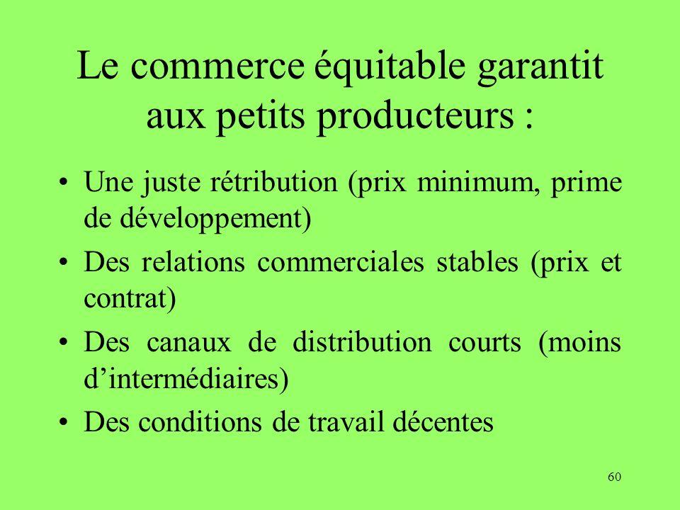 60 Le commerce équitable garantit aux petits producteurs : Une juste rétribution (prix minimum, prime de développement) Des relations commerciales sta