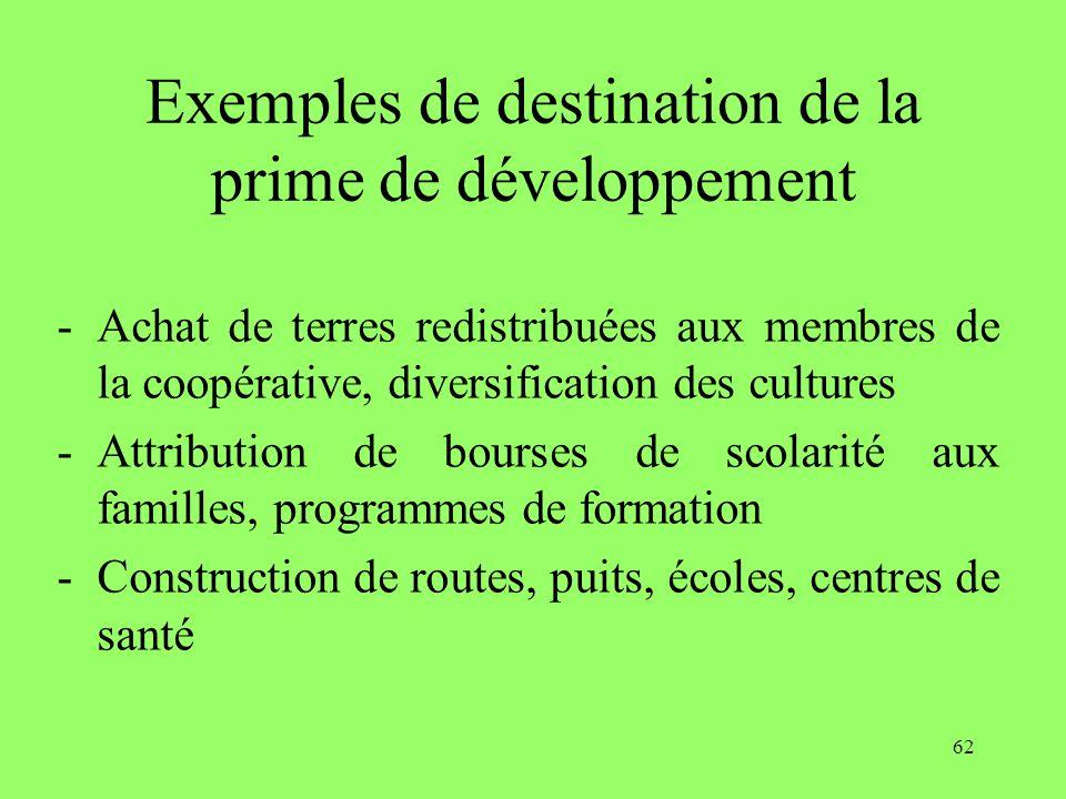 62 Exemples de destination de la prime de développement -Achat de terres redistribuées aux membres de la coopérative, diversification des cultures -Attribution de bourses de scolarité aux familles, programmes de formation -Construction de routes, puits, écoles, centres de santé