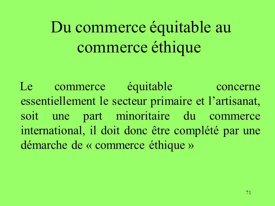 71 Du commerce équitable au commerce éthique Le commerce équitable concerne essentiellement le secteur primaire et lartisanat, soit une part minoritaire du commerce international, il doit donc être complété par une démarche de « commerce éthique »
