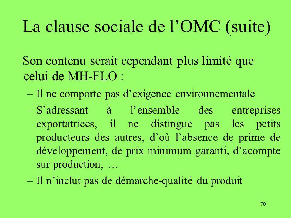 76 La clause sociale de lOMC (suite) Son contenu serait cependant plus limité que celui de MH-FLO : –Il ne comporte pas dexigence environnementale –Sa