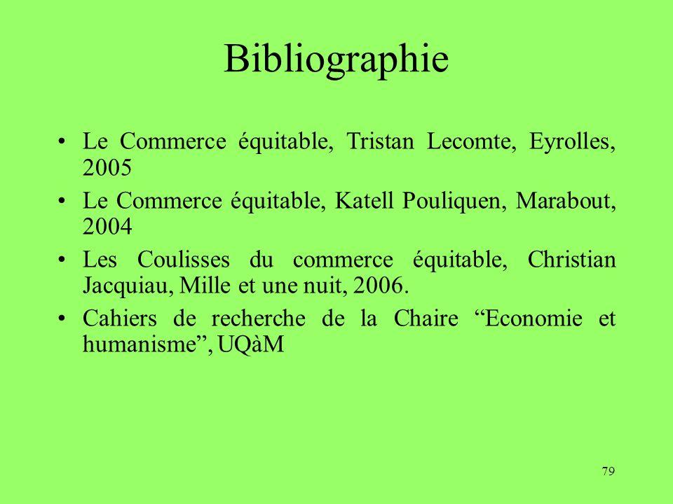79 Bibliographie Le Commerce équitable, Tristan Lecomte, Eyrolles, 2005 Le Commerce équitable, Katell Pouliquen, Marabout, 2004 Les Coulisses du commerce équitable, Christian Jacquiau, Mille et une nuit, 2006.