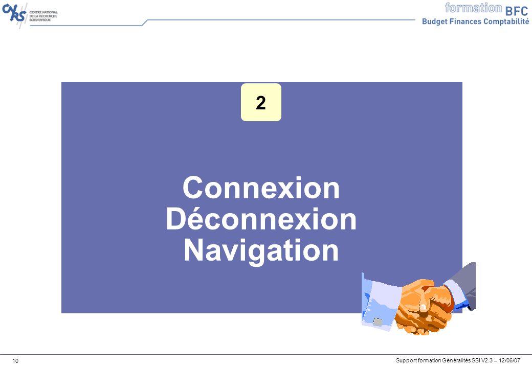 Support formation Généralités SSI V2.3 – 12/06/07 10 Connexion Déconnexion Navigation 2