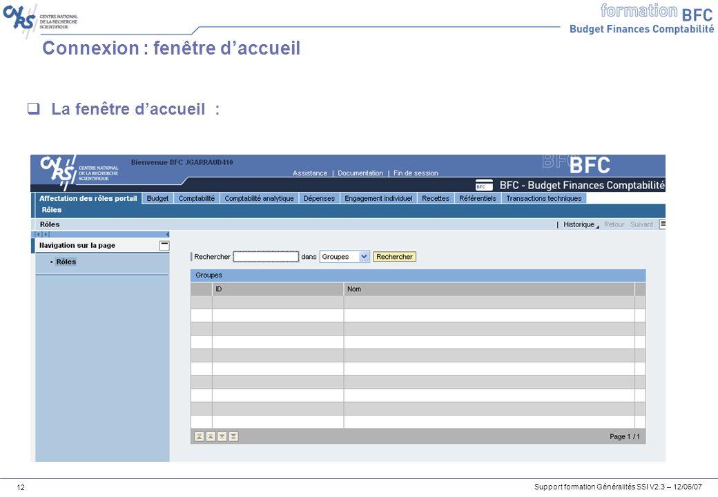 Support formation Généralités SSI V2.3 – 12/06/07 12 Connexion : fenêtre daccueil La fenêtre daccueil :