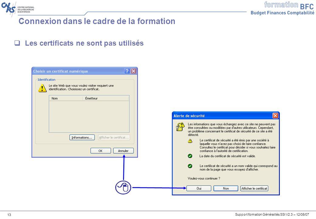 Support formation Généralités SSI V2.3 – 12/06/07 13 Connexion dans le cadre de la formation Les certificats ne sont pas utilisés
