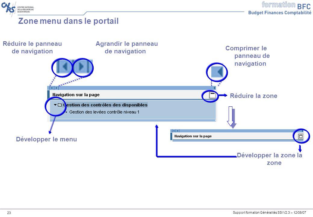 Support formation Généralités SSI V2.3 – 12/06/07 23 Zone menu dans le portail Réduire la zone Développer la zone la zone Agrandir le panneau de navigation Réduire le panneau de navigation Comprimer le panneau de navigation Développer le menu