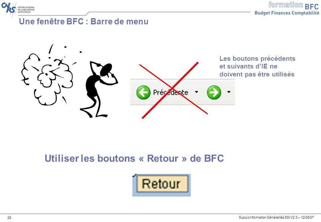 Support formation Généralités SSI V2.3 – 12/06/07 28 Une fenêtre BFC : Barre de menu Les boutons précédents et suivants dIE ne doivent pas être utilisés Utiliser les boutons « Retour » de BFC