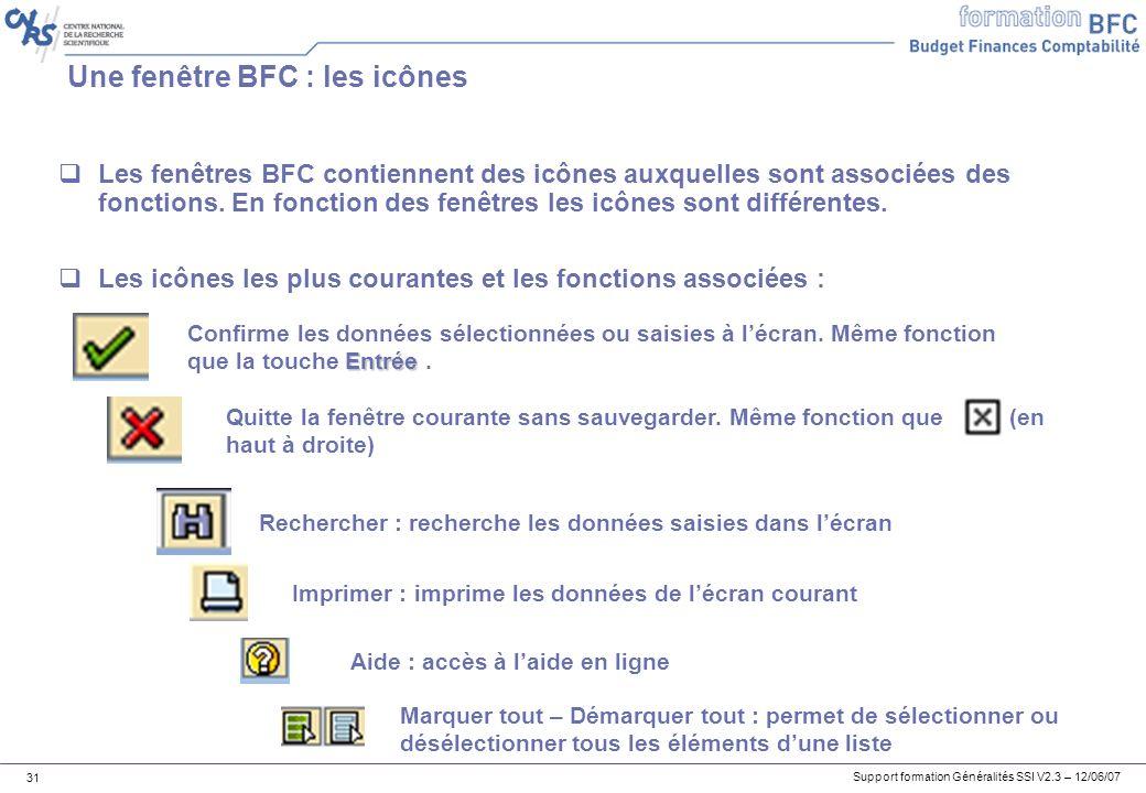 Support formation Généralités SSI V2.3 – 12/06/07 31 Une fenêtre BFC : les icônes Les fenêtres BFC contiennent des icônes auxquelles sont associées des fonctions.