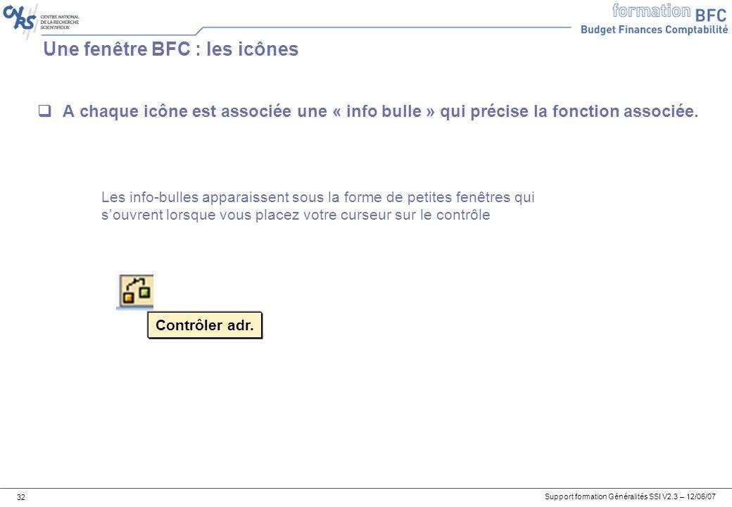 Support formation Généralités SSI V2.3 – 12/06/07 32 Une fenêtre BFC : les icônes A chaque icône est associée une « info bulle » qui précise la fonction associée.