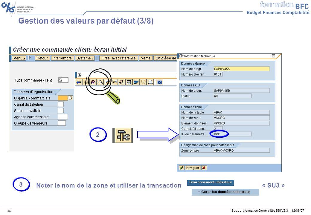 Support formation Généralités SSI V2.3 – 12/06/07 46 Gestion des valeurs par défaut (3/8) 2 Noter le nom de la zone et utiliser la transaction « SU3 » 3