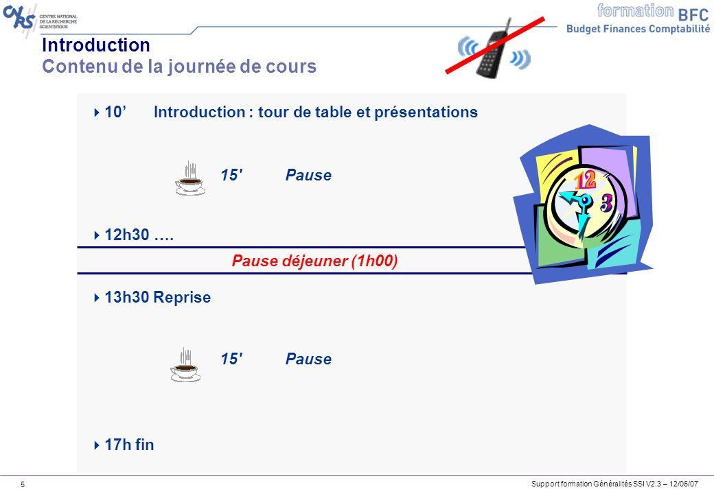 Support formation Généralités SSI V2.3 – 12/06/07 5 Introduction Contenu de la journée de cours 10 Introduction : tour de table et présentations 15 Pause 12h30….