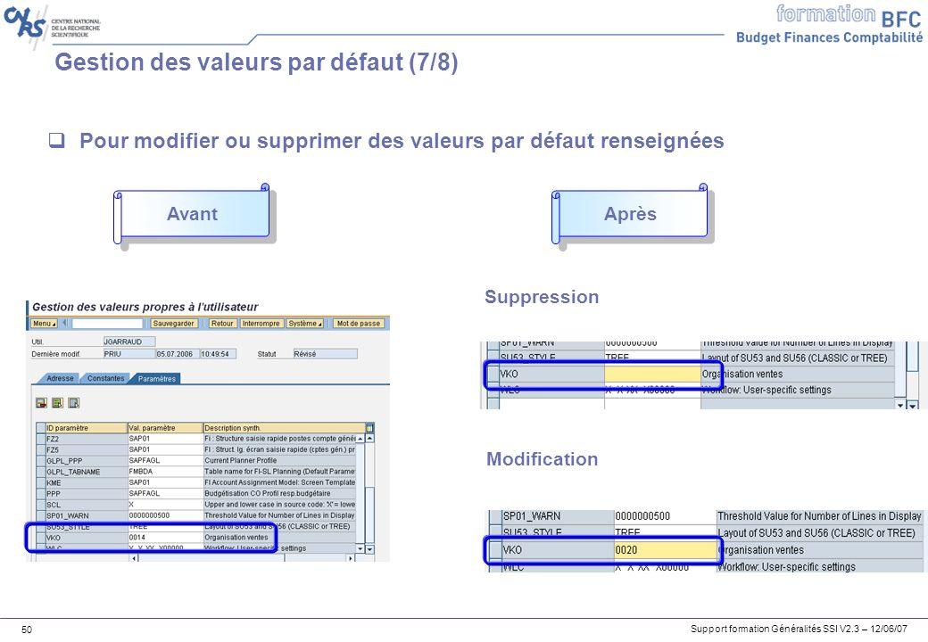 Support formation Généralités SSI V2.3 – 12/06/07 50 Gestion des valeurs par défaut (7/8) Pour modifier ou supprimer des valeurs par défaut renseignées Suppression Modification Avant Après