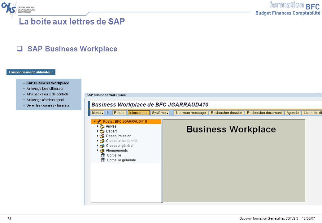 Support formation Généralités SSI V2.3 – 12/06/07 78 La boite aux lettres de SAP SAP Business Workplace