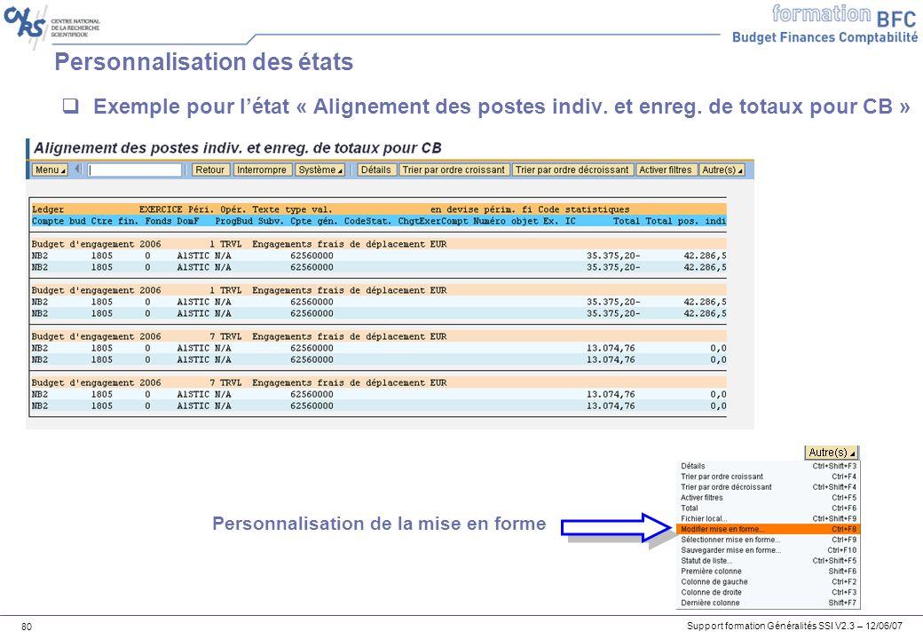 Support formation Généralités SSI V2.3 – 12/06/07 80 Personnalisation des états Exemple pour létat « Alignement des postes indiv.