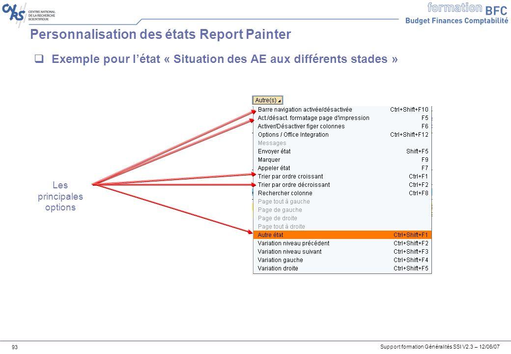 Support formation Généralités SSI V2.3 – 12/06/07 93 Personnalisation des états Report Painter Exemple pour létat « Situation des AE aux différents stades » Les principales options