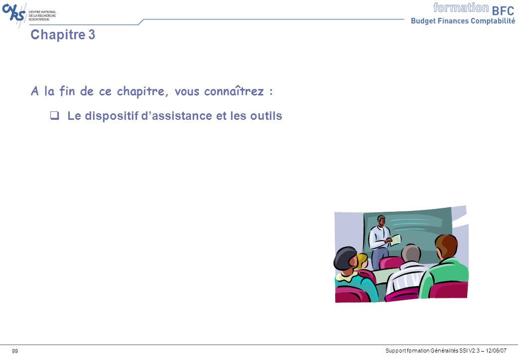 Support formation Généralités SSI V2.3 – 12/06/07 99 Chapitre 3 Le dispositif dassistance et les outils A la fin de ce chapitre, vous connaîtrez :