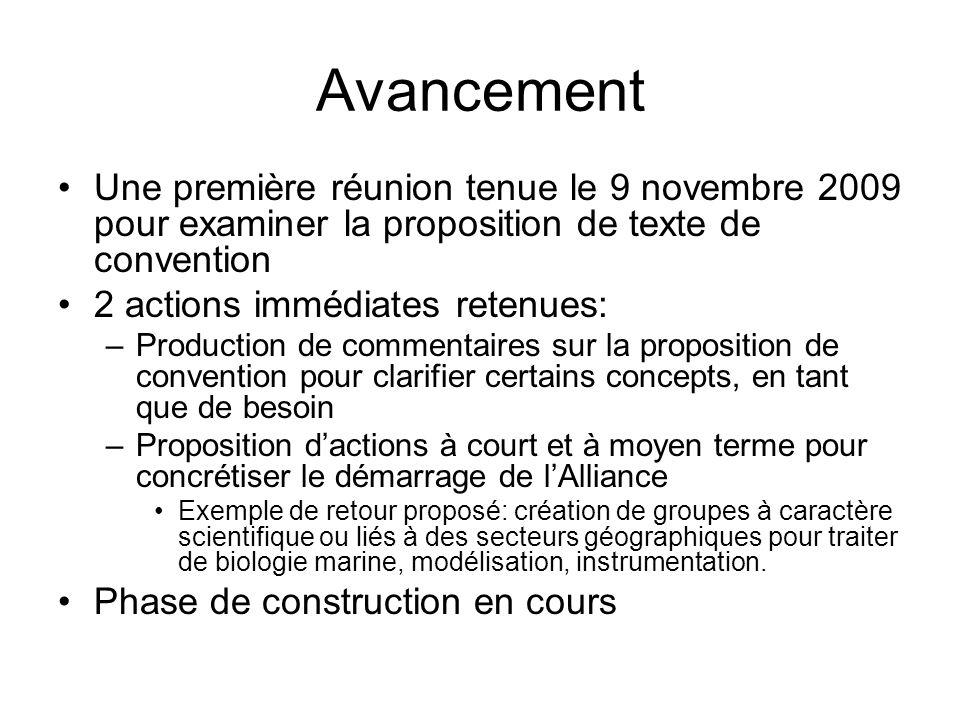 Avancement Une première réunion tenue le 9 novembre 2009 pour examiner la proposition de texte de convention 2 actions immédiates retenues: –Productio