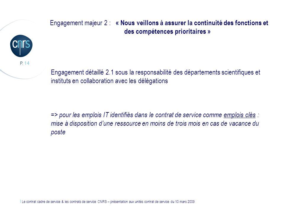 l Le contrat cadre de service & les contrats de service CNRS – présentation aux unités contrat de service du 10 mars 2009 P. 14 Engagement majeur 2 :