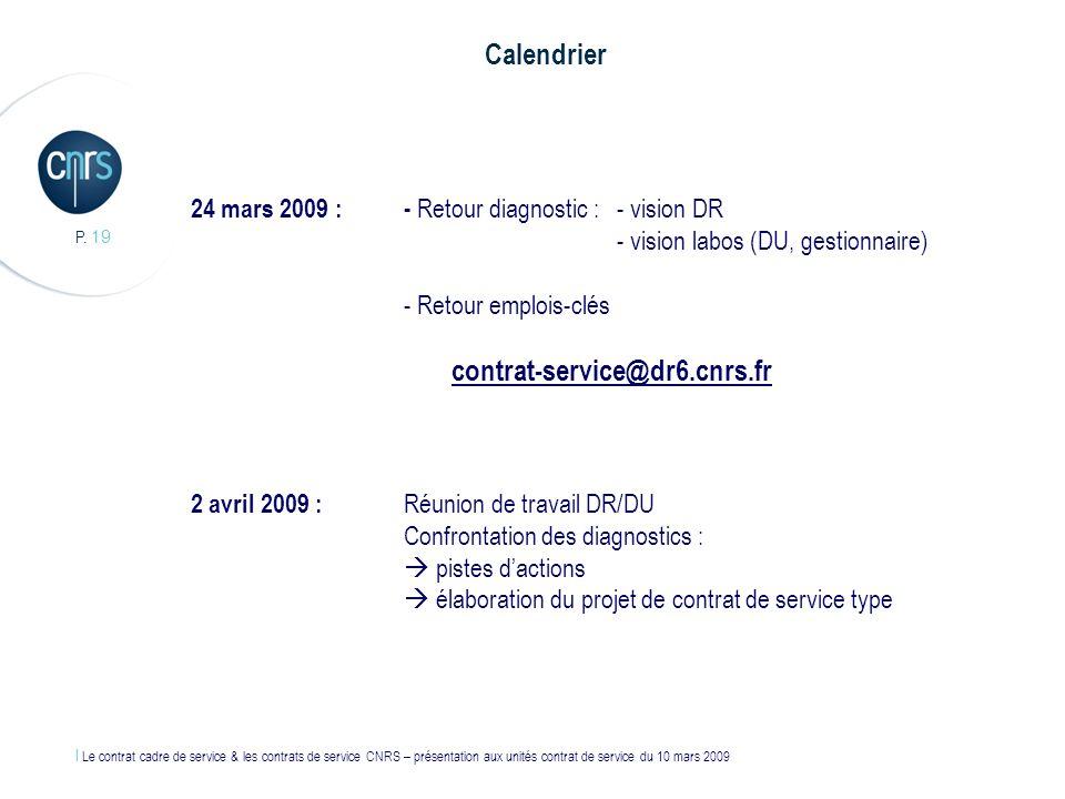 l Le contrat cadre de service & les contrats de service CNRS – présentation aux unités contrat de service du 10 mars 2009 P. 19 24 mars 2009 : - Retou