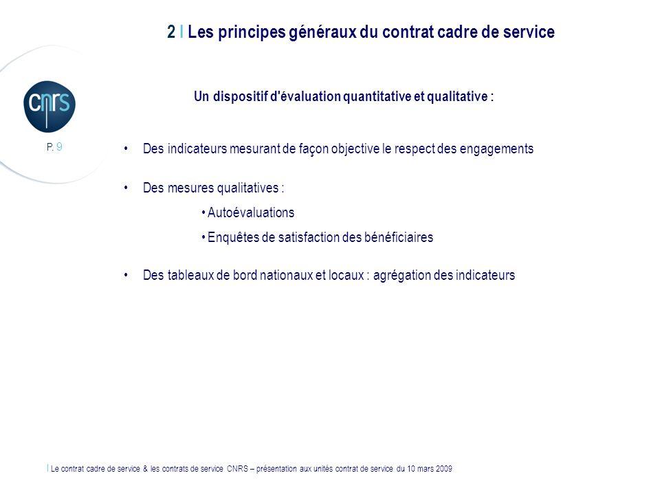 l Le contrat cadre de service & les contrats de service CNRS – présentation aux unités contrat de service du 10 mars 2009 P. 9 Un dispositif d'évaluat