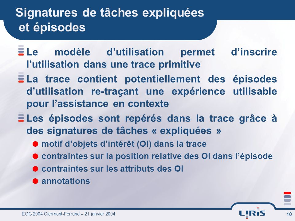 EGC 2004 Clermont-Ferrand – 21 janvier 2004 10 Signatures de tâches expliquées et épisodes Le modèle dutilisation permet dinscrire lutilisation dans u